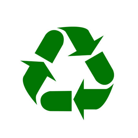 The universal recycling symbol. International symbol used on packaging to remind people to dispose of it in a bin instead of littering. Icon isolated on white background. Vector illustration.
