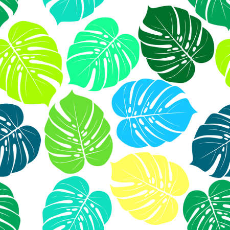 Tropical summer seamless pattern. Tropical  tropical leaves at Animal leopard background. Vector illustration 向量圖像