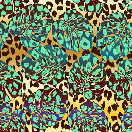 Tropical summer seamless pattern. Tropical  tropical leaves at Animal leopard background. Vector illustration Illustration