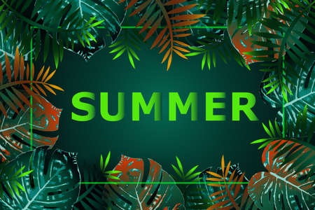 Summer green tropical flyer design with tropical flowers and monstera leaves. Frame design. Copy space