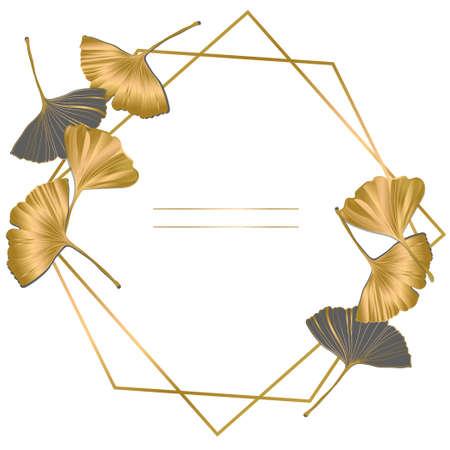 Vector banner Summer tropical flyer design with leaves of ginkgo biloba. ink line art design. Ginkgo Biloba leaves. Copy Space.