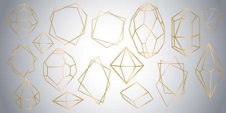 Vector set of golden luxury crystal diamonds shapes.Border Collection for Card.Geometric Premium Glitter Background, Polygon mosaic shape amethyst gem quartz stone line art style. Vector illustration