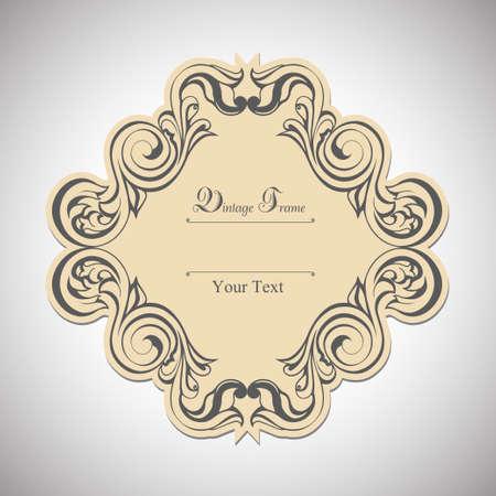 Vintage label frame art-deco vector image. Vector damask vintage baroque scroll ornament swirl. Victorian monogram heraldic shield swirl. Retro floral leaf pattern border foliage antique acanthus. Vector illustration