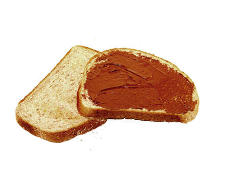 Slices of toast bread with hazelnut spread photo
