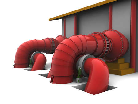 3D representation of a Hydroelectric Plant