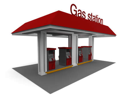 Isolated 3D representation of a Gas Station with shadows Standard-Bild