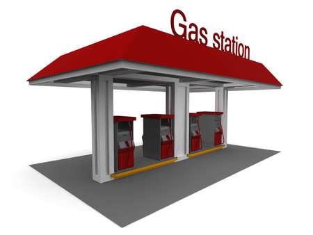 gasoline station: Rappresentazione 3D isolata di un distributore di benzina con ombre