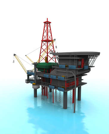 Isolated 3D representation of a Drilling Rig with shadows