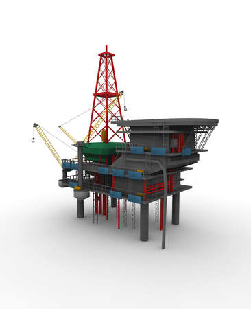 drilling rig: Isolated 3D representation of a Drilling Rig with shadows
