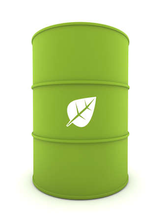 biodiesel: 3D representation of a Bio-Fuel Drum with shadows Stock Photo