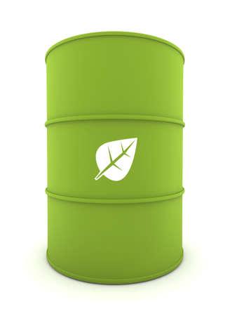 3D-weergave van een bio-Fuel Drum met schaduwen  Stockfoto