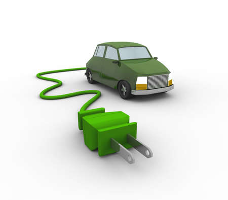 3D representation of an Electric Car isolated in white Stock Photo - 7832297