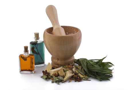 Mortar with herbs and roots for preparing organic medicine