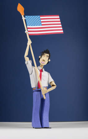 Paper character is holding a USA flag over a blue gradient photo
