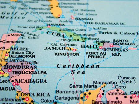 Plattegrond van de Caribische Zee                               Stockfoto
