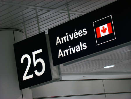 Canadian airport gate arrival sign