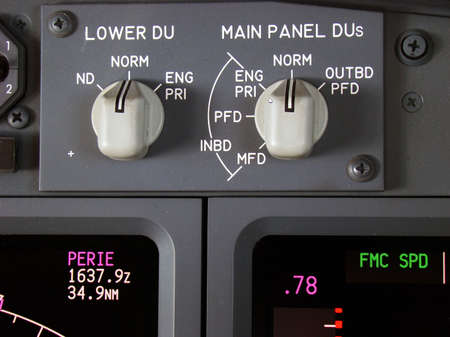 Partial view of the instrument panel of a modern airliner.