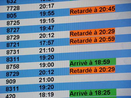 itinerary: Airport flight information board