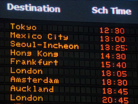 itinerary: Canadian airport information board, international departures.