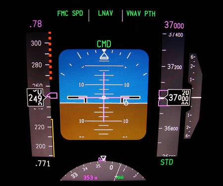 Technologie: cockpit vliegtuig op 37000 ft Stockfoto