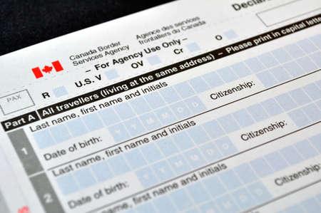 Canadian Customs declaration card