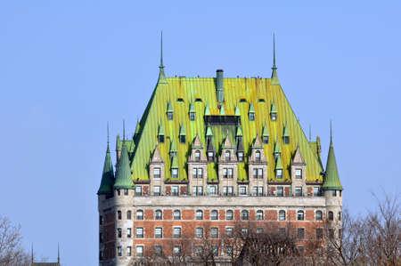 Chateau Frontenac, Quebec City most famous landmark. Stock Photo