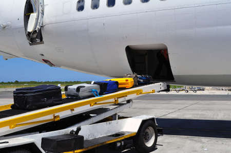 Jet airliner on the ramp loading  offloading luggage