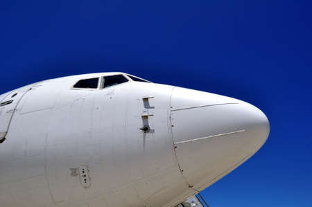 Airplane nose. Cockpit of a jet airliner. Stock Photo