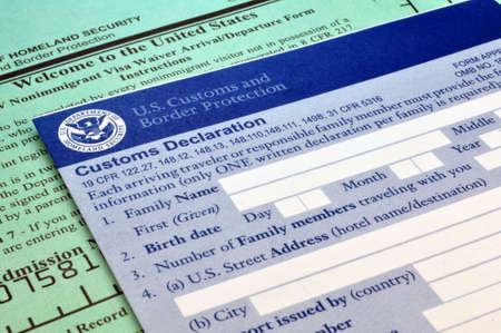 Arriving in the USA: Customs forms at border point of entry Stock Photo