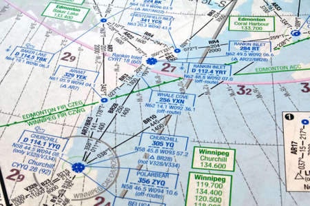 Air navigation map: airways, waypoints and radio aids
