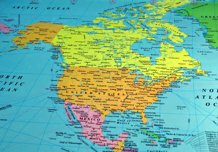 North America map, includes names of many cities and references Stock Photo