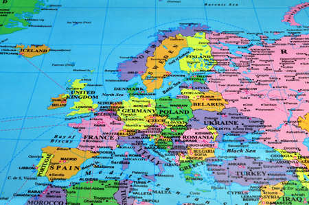 Colorful map of Europe Stock Photo