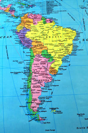 South America color map, includes many details.