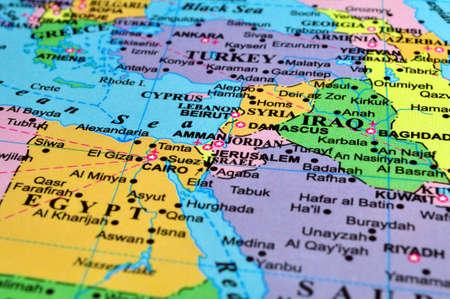 Midden-Oosten kaart, conflict zone. Focus op de Israël-Syrië-Jordanië gebied.