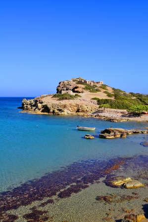 Fantastic view of a boat on the east coast of Crete