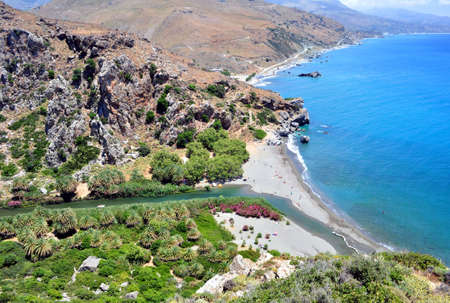 View of the exotic Preveli Beach in Southern Crete, Greece