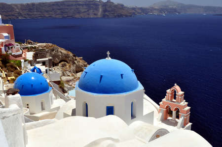Greek orthodox church in the island of Santorini photo