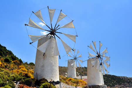 Travel photography: traditional wind mills in the Lassithi plateau, Crete.