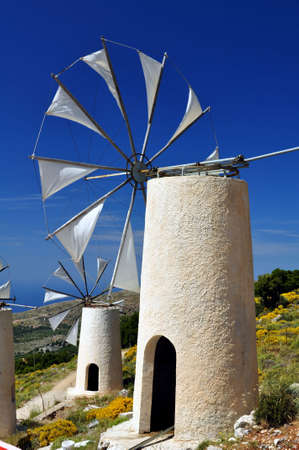 Traditional wind mills in the Lassithi plateau, Crete, Greece. Stock fotó