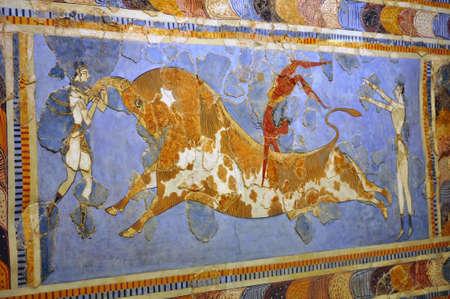 minoan: Ancient frescos, Heraklion, Crete, Greece.