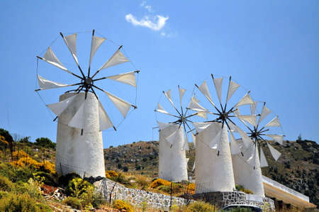 Traditional wind mills in the Lassithi plateau, Crete, Greece. Stock Photo