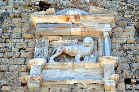 Lion of Saint Mark. Venetian fortress (Koules) in the Island of Crete, Greece Stock Photo