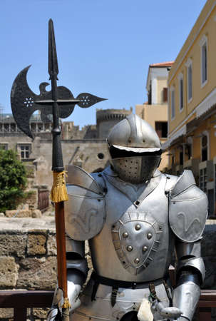 Travel Europe: Knight armor. Medieval fortress of Rhodes, Greece. photo