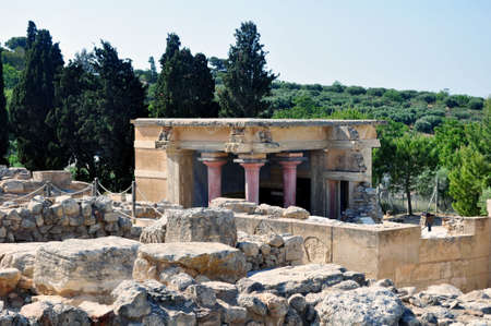 Ruins at the Archaeological site of Knossos. Crete, Greece. Stock Photo