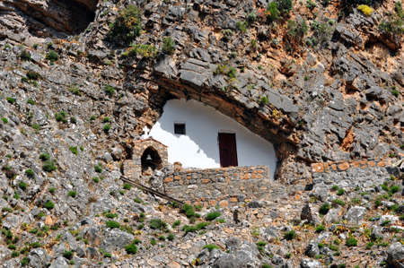 Greek orthodox chapel built in a cave, Samaria gorge, Crete, Greece.