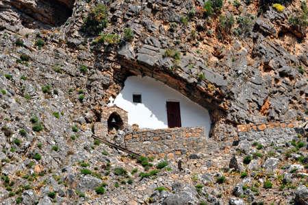 samaria: Greek orthodox chapel built in a cave, Samaria gorge, Crete, Greece.