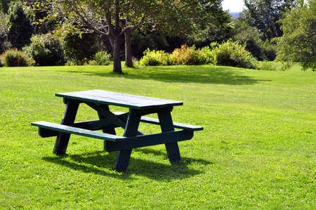 banc de parc: Table de pique-nique au parc