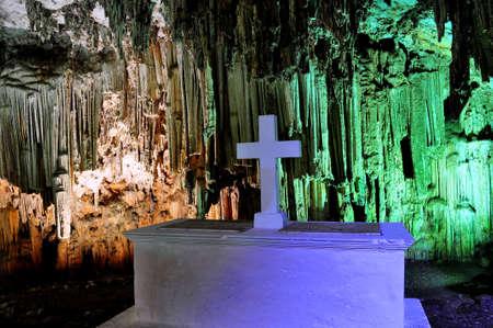 Impressive Melidoni cave in the island of Crete, Greece. Фото со стока