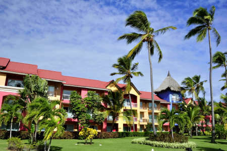 Palm trees surrounding a tropical resort in Dominican Republic.