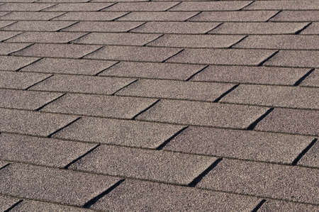 shingle: Construction: Detail of shingles on house rooftop.